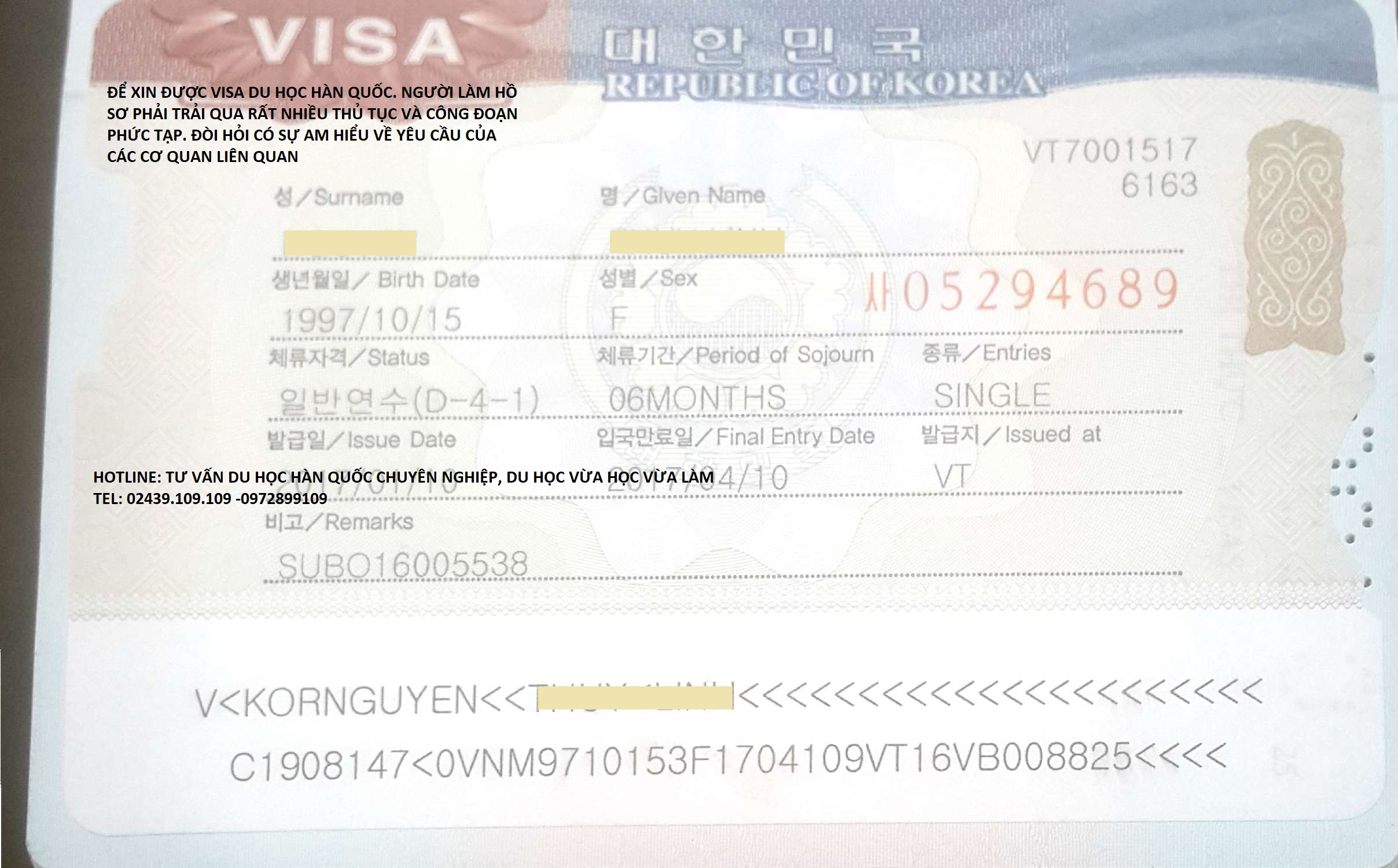 Thủ tục hồ sơ xin visa du học Hàn Quốc