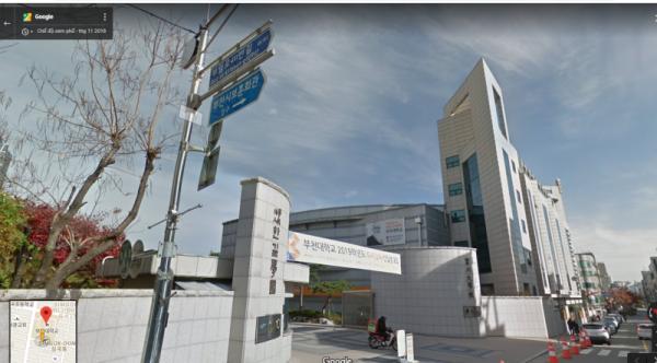 Hình ảnh cổng trường Đại học Bucheon chụp qua vệ tinh