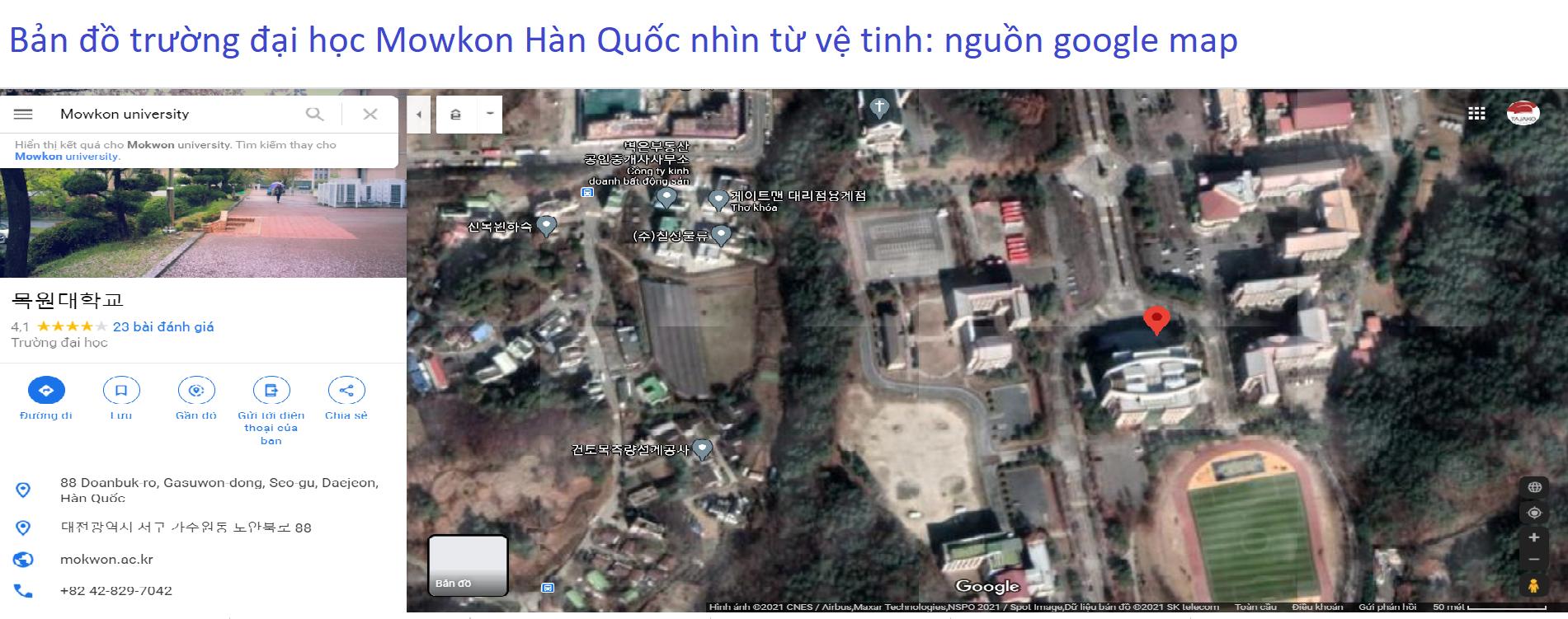 Bản đồ vệ tinh trường đại học Mowkon Hàn Quốc