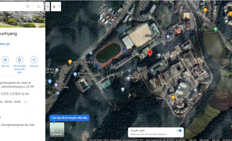 Bản đồ vệ tình trường Đại học SoonchunHyang