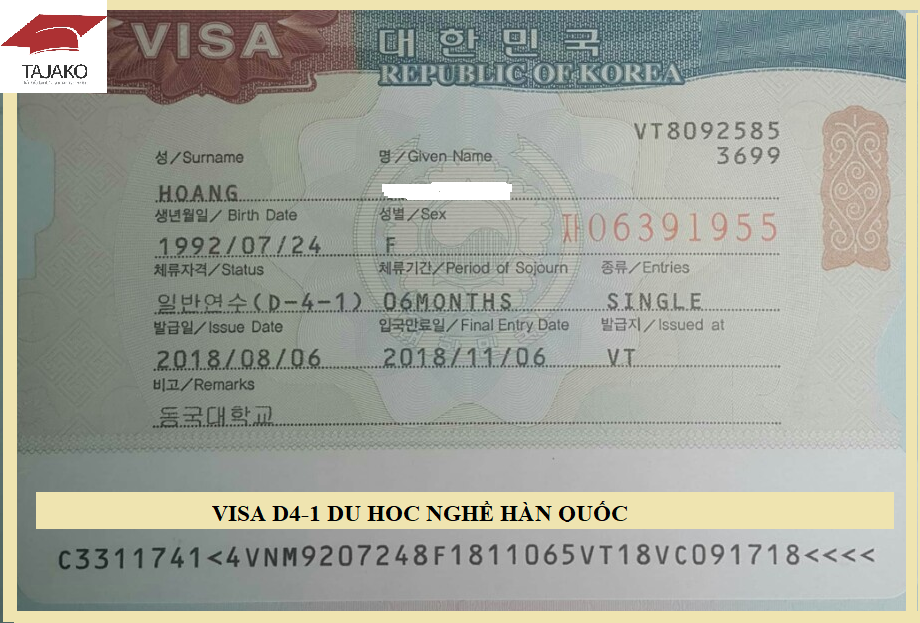 visa-D4-1 du học Hàn Quốc
